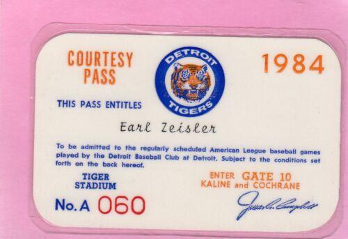 1984 Detroit Tigers PSA Ticket Pass World Champs/Pennant 104 Wins Record Morris
