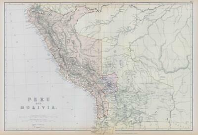 1882 LARGE Antique Colour Map of PERU AND BOLIVIA by BLACKIE (BA6)