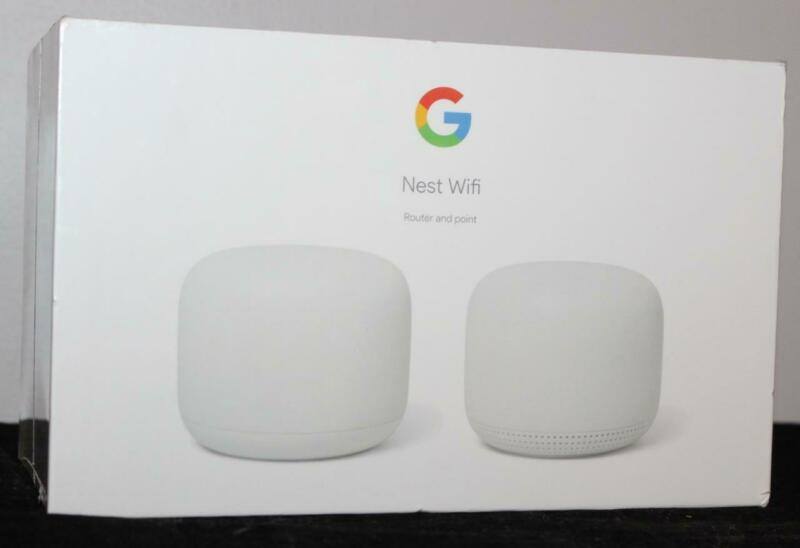 Google Nest GA00822-US Wifi Router and Add-on Point Snow AC2200 2-Pack - New