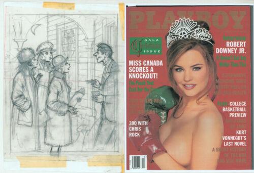 Doug Sneyd Original Pencil Preliminary Playboy Art Sketch Christmas Carolers