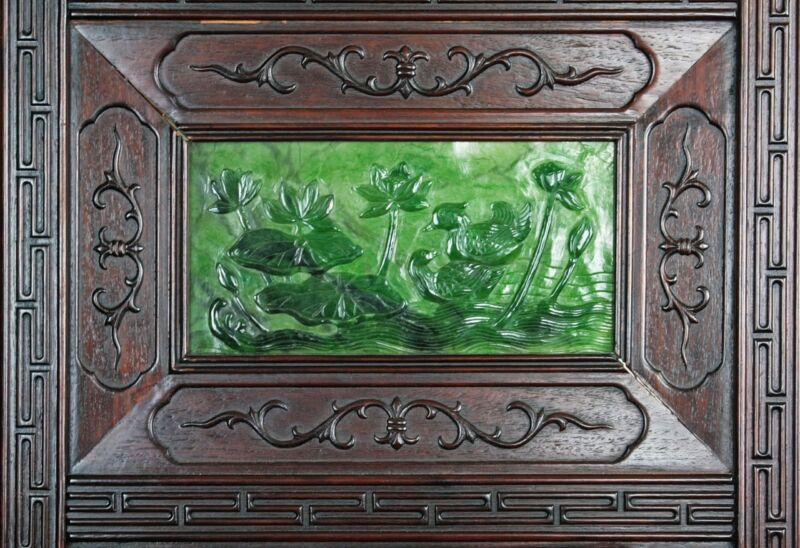 PAIR MASSIVE AND RARE CHINESE ANTIQUE SPINACH JADE WOOD SCREENS