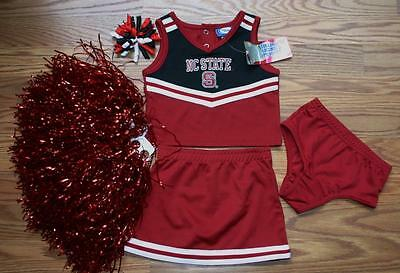 CHEERLEADER COSTUME HALLOWEEN OUTFIT NC STATE WOLFPACK SET 12 MTHS POM POMS BOW - Wolf Pack Costume
