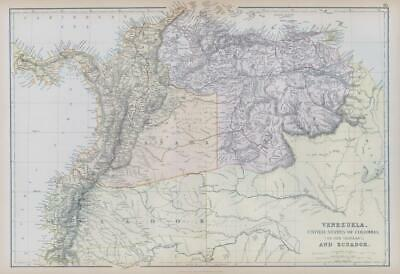 1882 LARGE Antique Map VENEZUELA UNITED STATES COLUMBIA  ECUADOR BLACKIE (BA8)