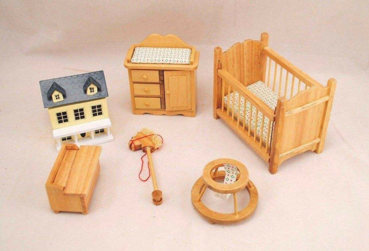 nursery baby room set oak finish dollhouse