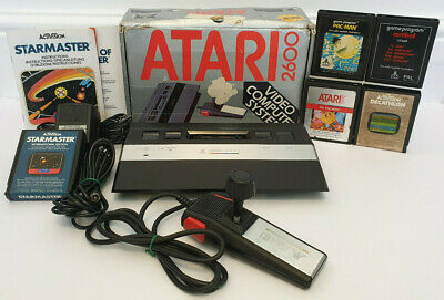 Atari 2600 Junior Console & CX24 Deluxe Joystick + 5 Games Pac-Man Etc TESTED