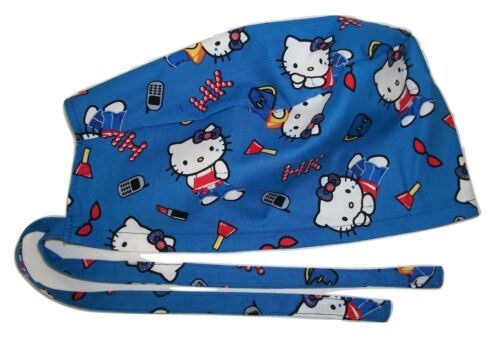 Surgical Scrub Hat Cap Hello Kitty Lipstick Cotton Fabric Nurse ER Chemo Doctor