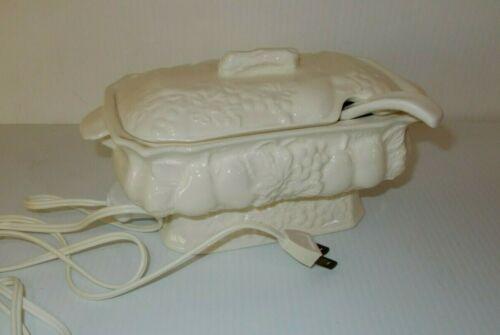 Vintage Work 120 V 40 W Electric Warming Gravy Boat White Porcelain Fruit Design