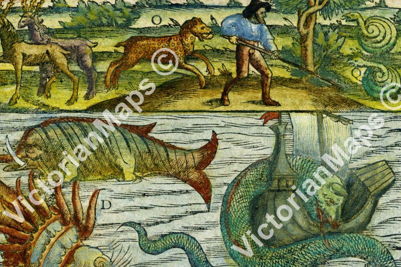 Sea Land Monsters beast serpent antique chart map Munster 1544 art print poster