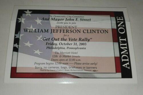 PHILADELPHIA MAYOR STREET PRESIDENT BILL CLINTON VOTE RALLY INVITIATION 2003