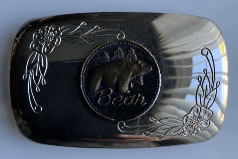 Rare Vintage Fred Bear Archery Chrome Coin Belt Buckle Traditional & Recurve Bow