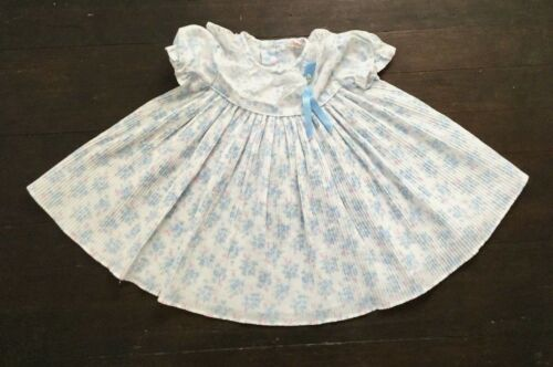Roanna Dress 12M Blue Floral Accordion Pleats Party Lace Full Circle USA Vintage
