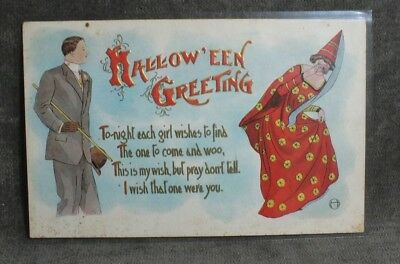 Vintage Rare C. 1908 H.M. Rose Embossed Halloween Greeting Post Card MS6