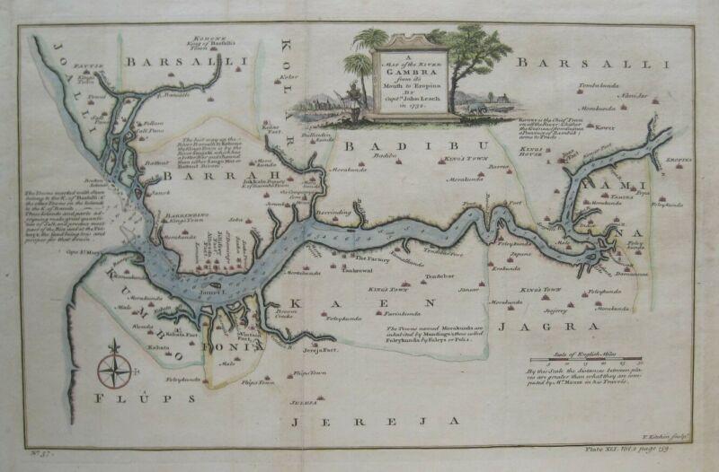 Original 1745 Thomas Kitchin Map GAMBIA RIVER Royal African Company Factories