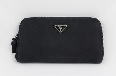 PRADA Black Zip Around Vintage WALLET Microfiber**USA SELLER**