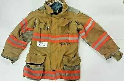 Lion 34x32 Brown Firefighter Bunker Turnout Jacket Coat With Yellow Tape J826
