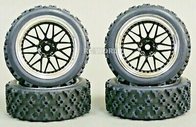 RC Car 1/10  RALLY WRC WHEELS TIRES Package BLACK  3MM  -Assembled-