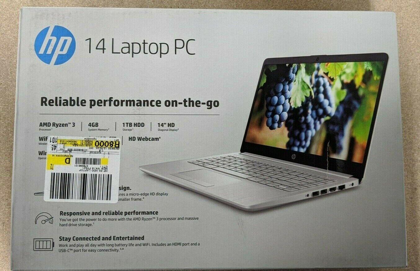 "Laptop Windows - BRAND NEW HP 14"" HD AMD Ryzen 3 4GB 1TB HDD Windows 10 Laptop"