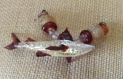 LGL- Handmade Boro Lampwork Bead set, GOLDEN RED SHARK Ln657, Sra, Great White