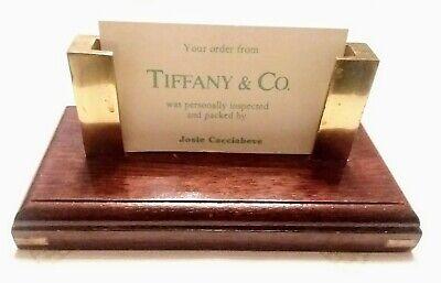 Wooden Business Card Holder Brass Storage Office Desk Display Stand