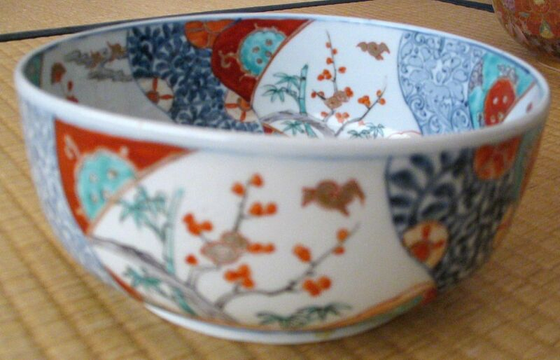 Japanese Antique Imari Bowl with Floral and Bird Design