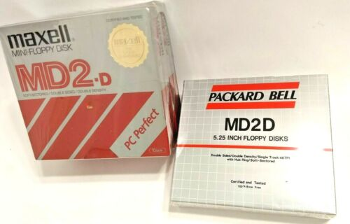 Maxell (20) & Packard Bell (10) MD2D 5.25 Floppy Disks 3 Packs, 30 Total, Sealed