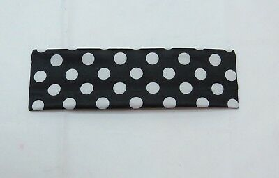 Polka Dot twist Knot soft headband Black White dots Ouchless 2 1/4 wide - Black And White Polka Dot Headband