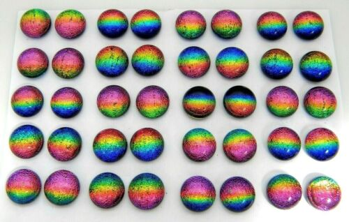 RAINBOW FOR POST EARRINGS TINY Lot 40 pcs round DICHROIC FUSED GLASS (A8) CABS