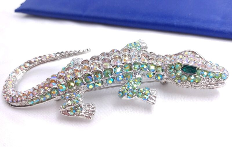 """(W) LARGE 4 1/8"""" Crystal body Rhinestone Alligator Lizard Brooch Pin #2"""