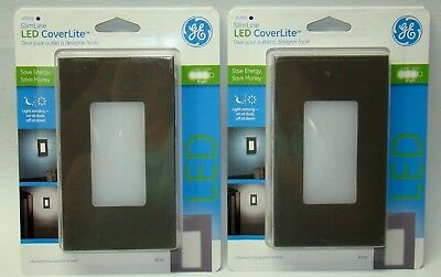 Lot of 2  GE 25359 SlimLine LED Outlet CoverLite, Wall Night Light Gray