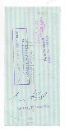 Menachem Begin Signed Endorsed Check 1981 / Autographed Israel Judaica