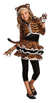 Girls Tigress Tiger Hoodie Costume Tutu Animal Print Dress Child Size Md 8-10](Tiger Costumes For Girls)