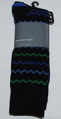 Covington Mens Casual Socks Size 6-12 Cotton Blend Black Stripes 3 (Covington Mens Socks)