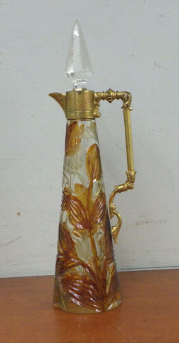 Art Nouveau Art Glass Ewer Poppies Gilt Mounted Handle
