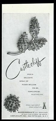 1963 Castle Cliff costume jewelry pussy willow pin earclip photo vintage ad