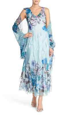 Komarov Floral Chiffon Gown with Shawl (size PM)
