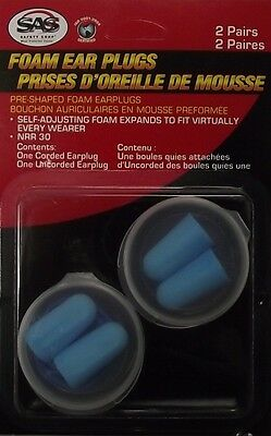 Sas Safety Corp 6101 Ear Plugs Foam With Cords 1 Pair Plus Extra Pair Non-cord