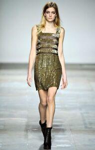 Topshop For UNIQUE Gorgeous Gold Sequin Stripe Shift Dress 8