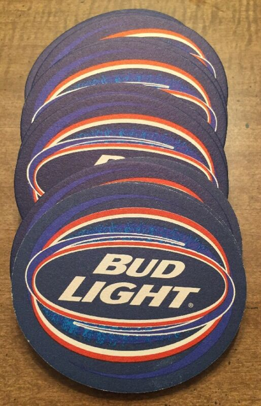 "BUD LIGHT BEER 🍺 Set of 20 UNUSED Cardboard Beverage Coasters 3.25"" X 4.25"""