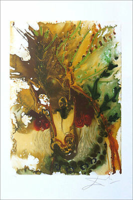 Salvador Dali Bucephale Horse Facsimile Signed Lithograph COA