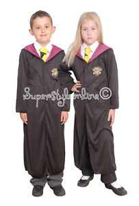 KIDS HARRY POTTER Style WIZARD ROBE Fancy Dress Wizard Costume HERMIONE BOYS