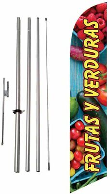 Frutas Y Verduras Spanish Advertising Feather Banner Swooper Flag Sign With...