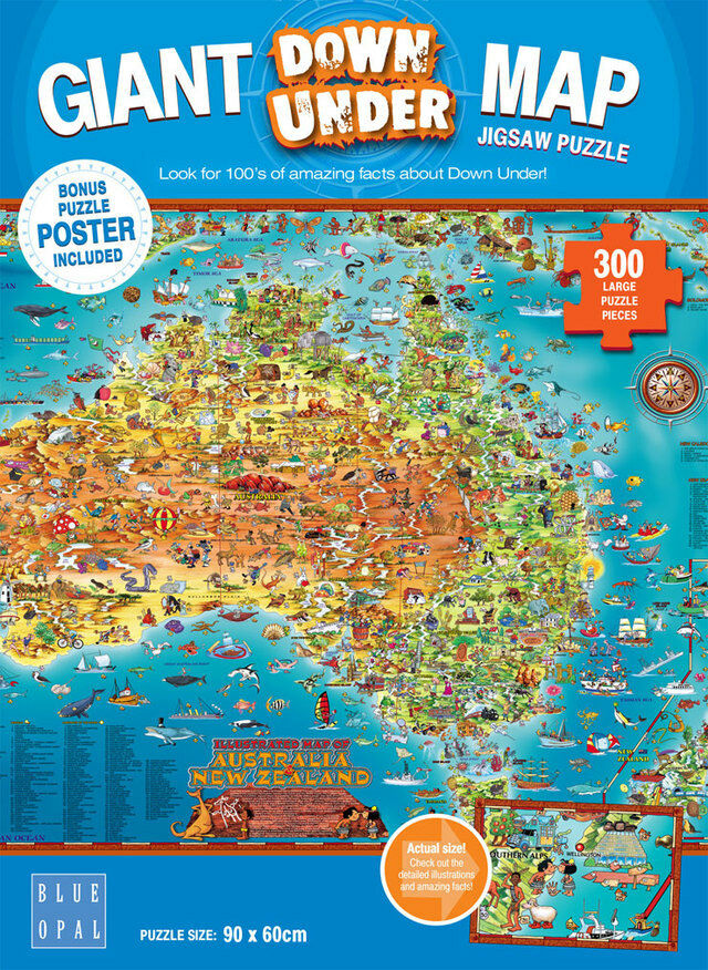 Australia Map Jigsaw.Details About Blue Opal Jigsaw Puzzles Australia New Zealand Giant Map Down Under Puzzle 300pc