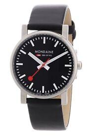 Mondaine Men's Quartz Watch with Black Dial Analogue Display & Black Leather Strap A658.30300.14SBB