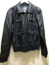 Men's leather jacket. Black.