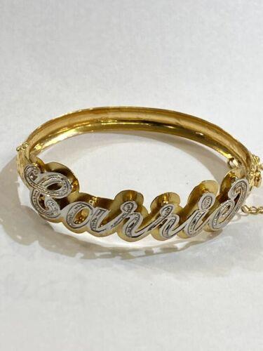 ladys Personalized 14K gold overly 3d id name Bracelet bangle /jumboo