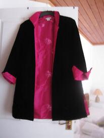Luxurious reversible ¾ length velvet evening jacket