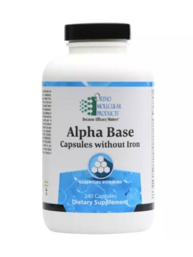 Ortho Molecular Alpha Base without Iron 240 Capsules Exp. 10/21 FRESH & FAST