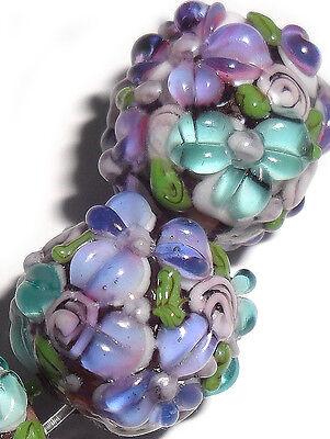 Lampwork Glass Flower Beads Raised Petals Purple 15 mm 4 Beads (#a33ple)