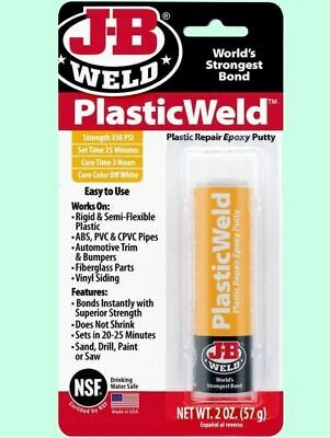 Plastic Epoxy Putty Adhesive J-b Weld Repair For Pvc Fiberglass Cpvc Abs Vinyl