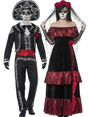 Couples Ladies and Mens Day Of The Dead Halloween Fancy Dress Costumes - Day Of The Dead Couple Costumes